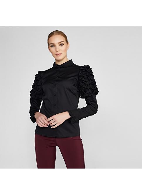 Vekem-Limited Edition Kolları Fırfırlı Beyaz Koton Gömlek Siyah